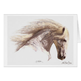 """SILVERWIND"" White Horse Greeting-cards Card"