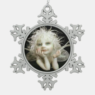 Silvery baby Fairy Snowflake Pewter Christmas Ornament