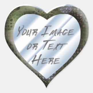 Silvery Batik Heart Frame Heart Sticker