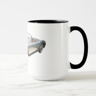 Silvery blue 1959 Corvette on coffee mug