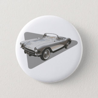 Silvery blue 1959 Corvette on silver foil 2 Inch Round Button