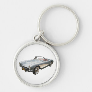 Silvery blue 1959 Corvette on white key chain. Keychain