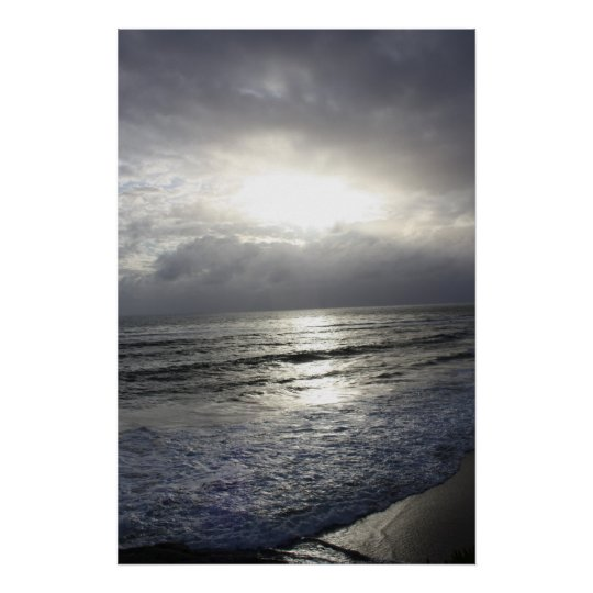 Silvery Blue Sunset Poster