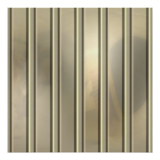 Silvery Gold Pin Stripes Posters