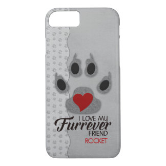 Silvery Gray with Red Heart Dog Paw for Pet Lovers iPhone 7 Case