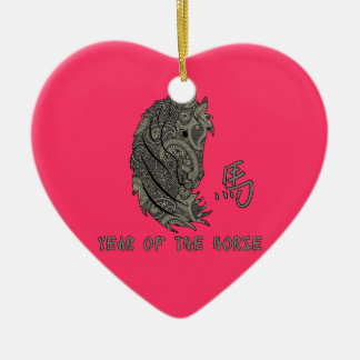 Silvery Grey Paisley Year of the Horse Ceramic Heart Ornament