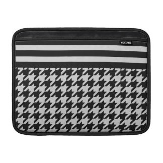 Silvery Houndstooth w/ Stripes 2 Sleeves For MacBook Air