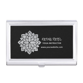 Silvery Mandala Floral Modern Yoga Instructor Business Card Holder
