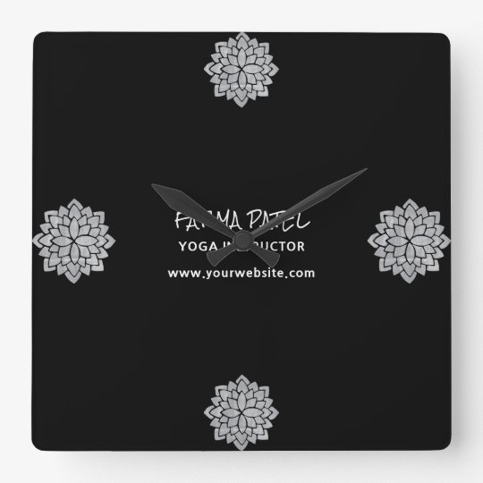 Silvery Mandala Floral Modern Yoga Instructor Wall Clock