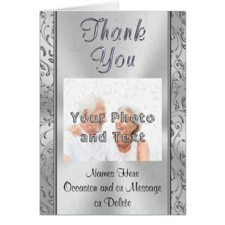Silvery Photo Personalized Thank You Notes