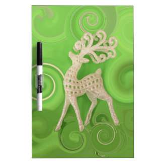 Silvery Reindeer with green swirls Dry Erase Board