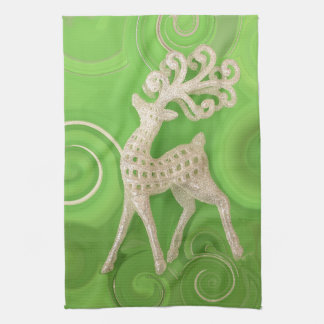 Silvery Reindeer with green swirls Hand Towels