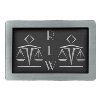 Silvery Scales of Justice on Black_Personalized Rectangular Belt Buckle