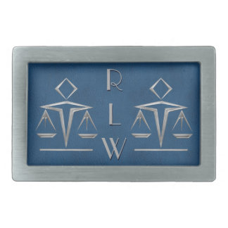 Silvery Scales of Justice on Blue_Personalized Belt Buckle