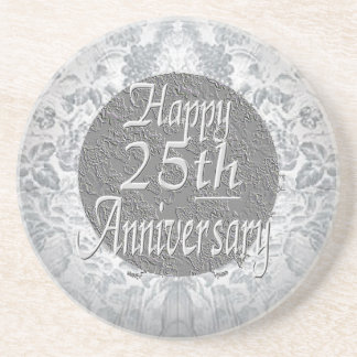 Silvery-Silver 25th Anniversary Drink Coasters