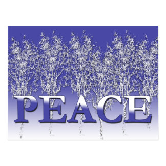 Silvery White and Blue PEACE Holiday Cards