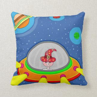 Simon and his Spaceship Throw Pillow