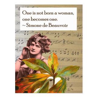 Simone de Beauvoir Quote Collage Postcard