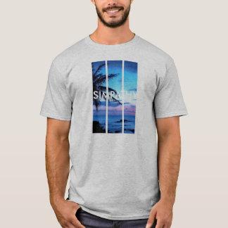 SIMPATHY Grey Palm Trees White t-shirt