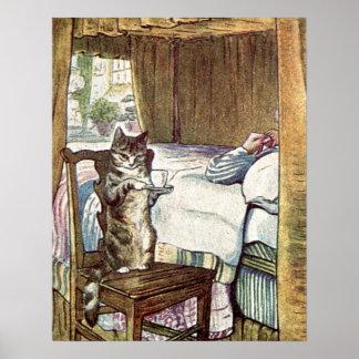 Simpkin the Cat Serves Tea Poster