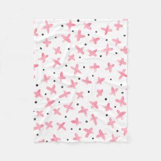 Simpl pastel pink acrylic dots cross pattern fleece blanket