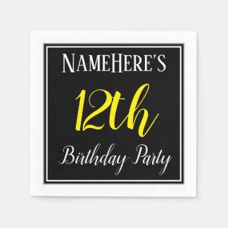 Simple, 12th Birthday Party w/ Custom Name Napkin