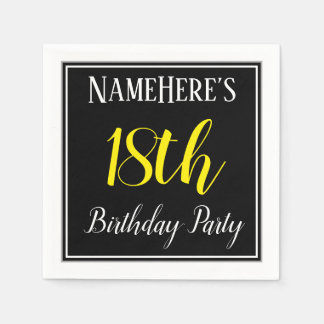 Simple, 18th Birthday Party w/ Custom Name Paper Napkins
