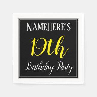 Simple, 19th Birthday Party w/ Custom Name Paper Napkin