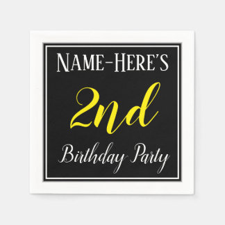 Simple, 2nd Birthday Party w/ Custom Name Paper Napkin