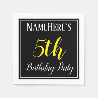 Simple, 5th Birthday Party w/ Custom Name Paper Napkin