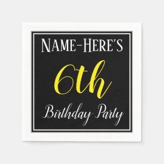 Simple, 6th Birthday Party w/ Custom Name Napkin