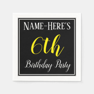 Simple, 6th Birthday Party w/ Custom Name Paper Napkins