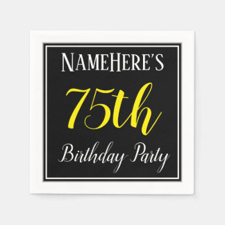 Simple, 75th Birthday Party w/ Custom Name Paper Napkin