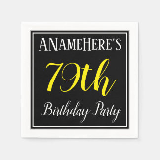 Simple, 79th Birthday Party w/ Custom Name Paper Napkins