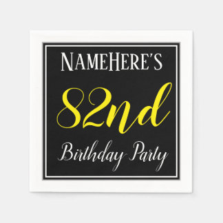Simple, 82nd Birthday Party w/ Custom Name Disposable Napkins