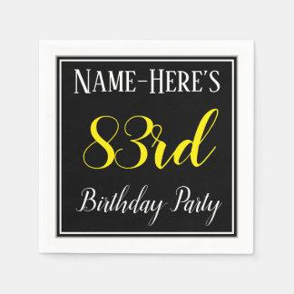 Simple, 83rd Birthday Party w/ Custom Name Paper Napkin
