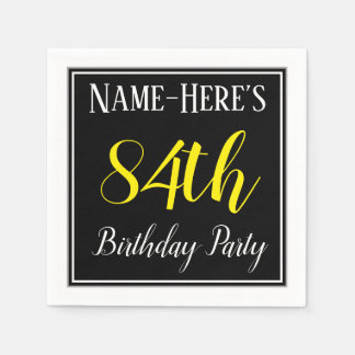 Simple, 84th Birthday Party w/ Custom Name Paper Napkins