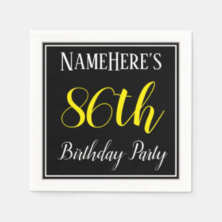 Simple, 86th Birthday Party w/ Custom Name Paper Napkin