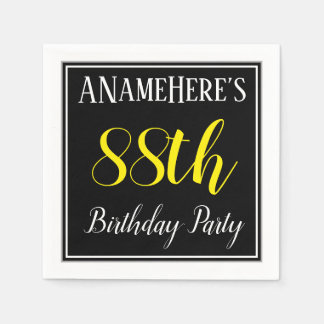 Simple, 88th Birthday Party w/ Custom Name Disposable Napkins