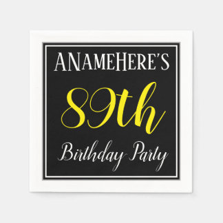 Simple, 89th Birthday Party w/ Custom Name Disposable Napkins