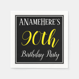 Simple, 90th Birthday Party w/ Custom Name Paper Napkins