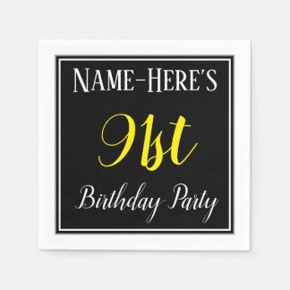 Simple, 91st Birthday Party w/ Custom Name Disposable Napkins