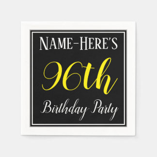 Simple, 96th Birthday Party w/ Custom Name Disposable Napkin