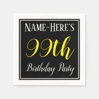 Simple, 99th Birthday Party w/ Custom Name Paper Napkin