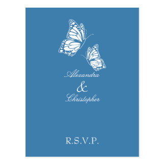 Simple Amparo Blue Butterfly RSVP Postcard