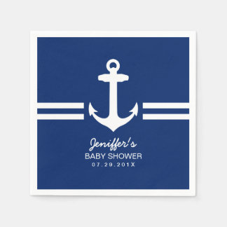 Simple Anchor Nautical Stripes Baby Shower Paper Napkin
