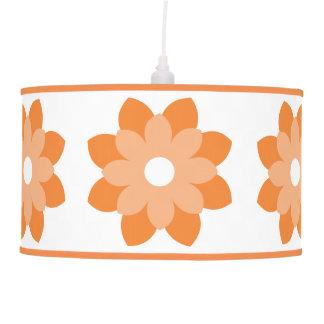 Simple And Bright Orange Flower Hanging Pendant Lamp