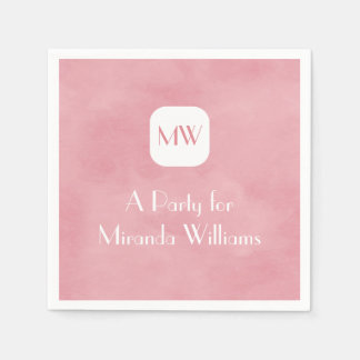 Simple and Chic Blush Pink Monogram With Name Disposable Napkins