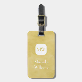 Simple and Chic Goldenrod Yellow Monogram and Name Luggage Tag