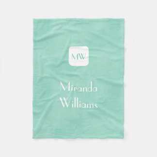 Simple and Chic Mint Green Monogram With Name Fleece Blanket